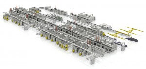 Figure 1: Representation of a modern production line with linked machining centers (photo: MAG IAS GmbH)